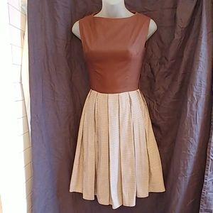 Vtg  1950s Jo White Inc. Brown Gingham Check Dress